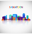 saskatoon skyline silhouette in colorful vector image vector image