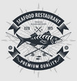 seafood restaurant logo with fish vector image