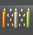set burning candles with different flames vector image