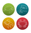 set of 4 one line sea animals icons or logos vector image