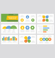set yellow blue green and orange elements vector image
