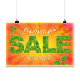 Summer Sale Banner With Leaves vector image vector image