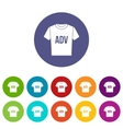 T-shirt with print ADV set icons vector image vector image