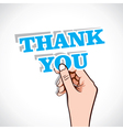 thank you sticker in hand vector image vector image