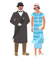 victorian couple lady and gentleman flat vector image