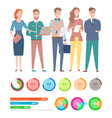 workers character diagrams and charts vector image vector image