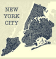 yellow and blue ny map vector image vector image