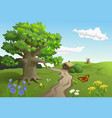 Country landscape with big oak near the road vector image