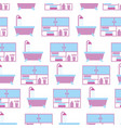 bathroom bathtub shower and furniture seamless vector image