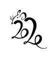 2020 lettering in drawn rat year rat