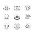 30 years anniversary logo set 30th anniversary vector image
