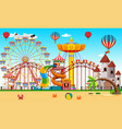 an amusement park next to the beach vector image