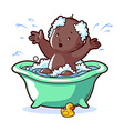 Baby bathing in green bath with foam and rubber vector image