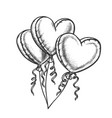 balloons in heart shape with ribbon retro vector image vector image