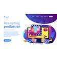 beauty blogger concept landing page vector image vector image