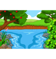 beauty river with landscape view background vector image