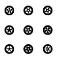 black wheel icon set vector image vector image