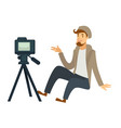 blogger or vlogger man shooting video vector image vector image