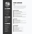 bold cv resume - minimalist modern sleek design vector image vector image