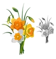 bouquet yellow and white flowers isolated vector image vector image