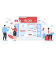 business people around huge tablet with blog page vector image