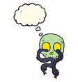 cartoon skull with snakes with thought bubble vector image