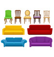 collection of comfortable furniture set chairs vector image