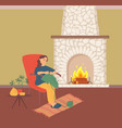 female crochets near fireplace knitting vector image vector image
