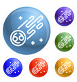 flying comet icons set vector image vector image