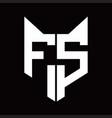 fs logo monogram with fox head shape design vector image vector image