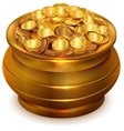 Full ceramic pot with gold coins vector image vector image