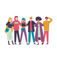 group diverse happy people muti-ethnic standing vector image vector image