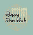 happy hanukkah handwritten word hanukkah candles vector image