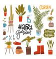 home gardening set with garden tools home plants vector image vector image
