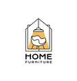 house logo lamp drawer shelf chair home furniture vector image