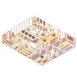 isometric coworking space interior plan vector image vector image