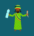 jah god for rastafarian rasta hat and deredy vector image vector image