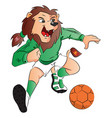 lion mascot playing soccer vector image vector image