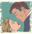 man and woman about to kiss pop art comics retro vector image vector image
