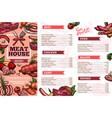 meat restaurant meals menu vector image vector image