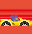 monster in a sport car on a red background vector image