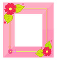 pink frame with flowers and green leaves in corner vector image