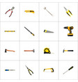 realistic carpenter spanner plumb ruler and vector image vector image