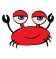 red crab with blue eyes on white background vector image