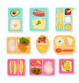 school food top view lunch boxes for children vector image vector image