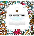 sea adventures template marine hand drawn vector image