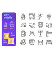 set city details simple lines icons building vector image vector image