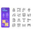 set city details simple lines icons building vector image