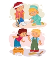 Set icons little boy sick and compassionate girl vector image vector image