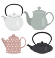 set of icon tea pots vector image